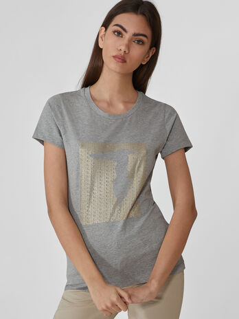 Baumwoll-T-Shirt im Slim-Fit mit Metallic-Print