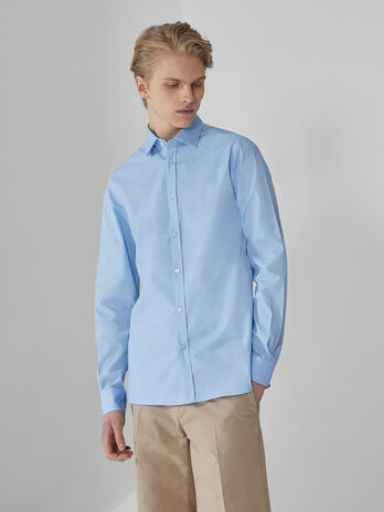 Slim-fit solid-colour stretch poplin shirt