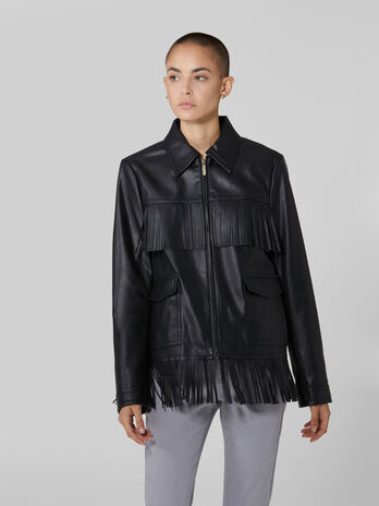 Soft faux leather jacket with fringing