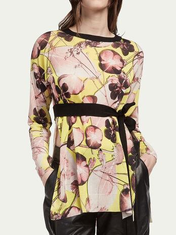 Blusa de seda y algodón floral