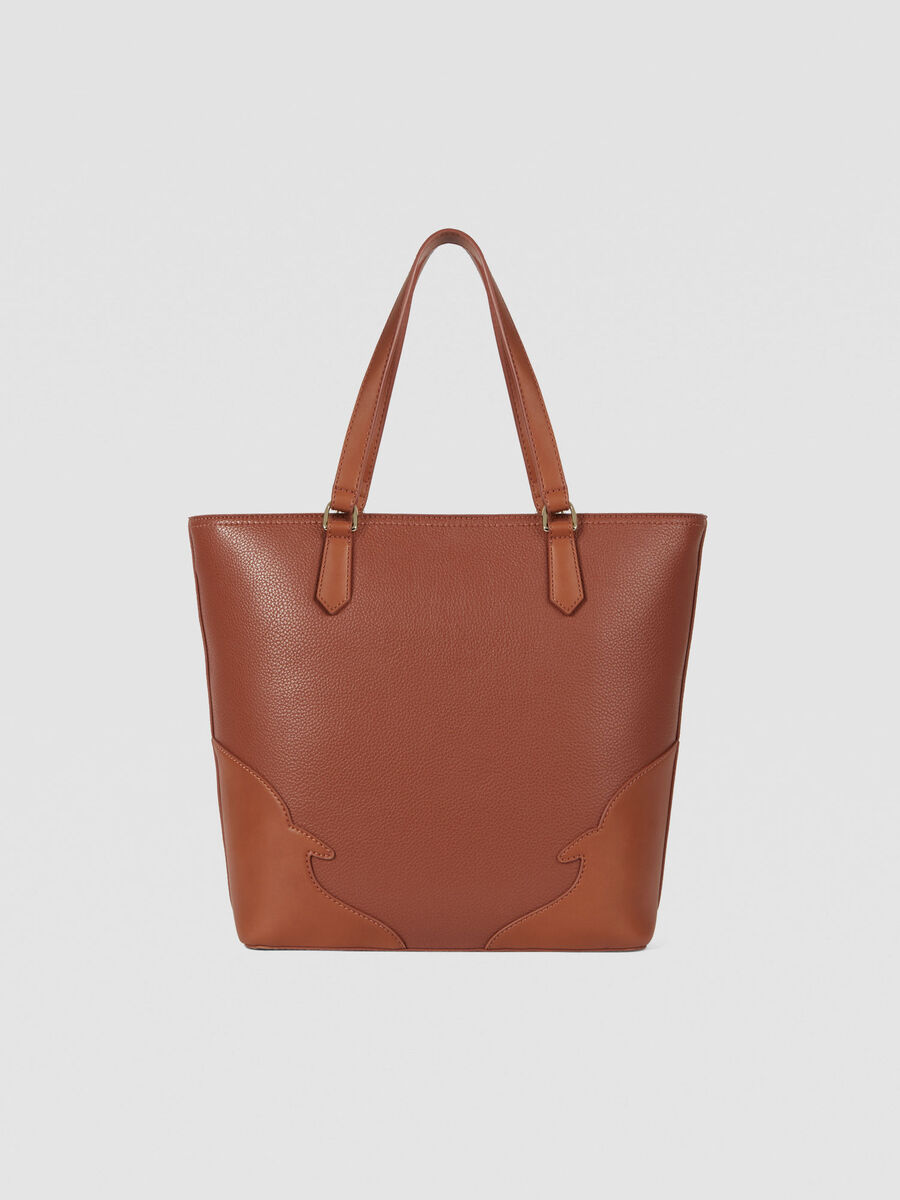 Small Deco Edge tote bag in tumbled faux leather