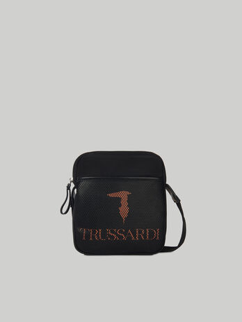 Nylon shoulder bag with logo detail