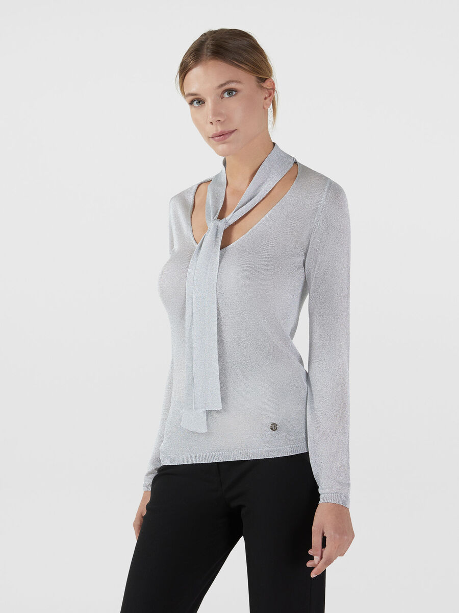 Regular fit lurex sweater with scarf collar