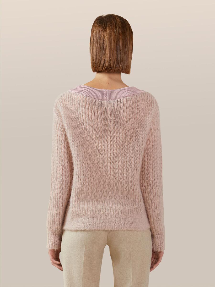 Jersey de mohair chine con cuello en V
