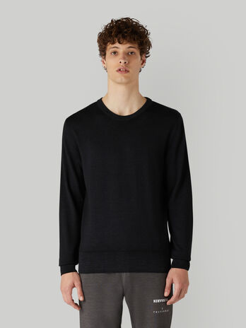 Regular-fit vintage-style pure wool pullover