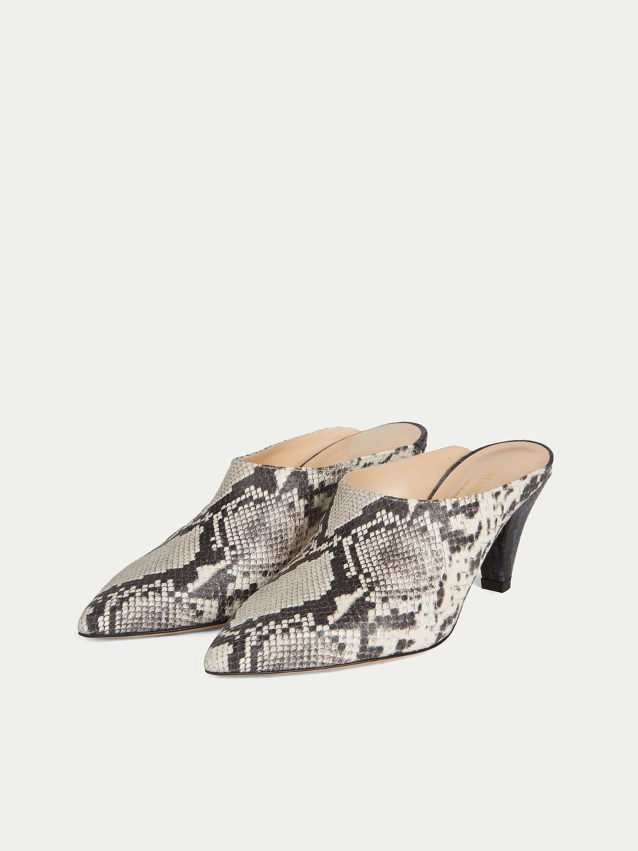 Two tone reptile print leather mules with low heels