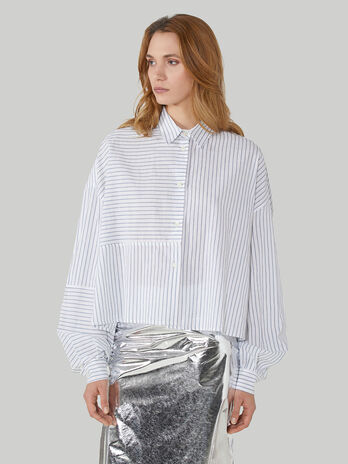 Oversized shirt in striped cotton and linen