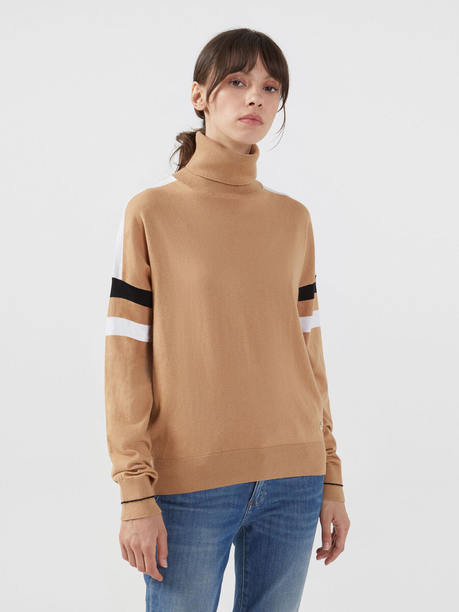 Striped cotton silk polo neck pullover