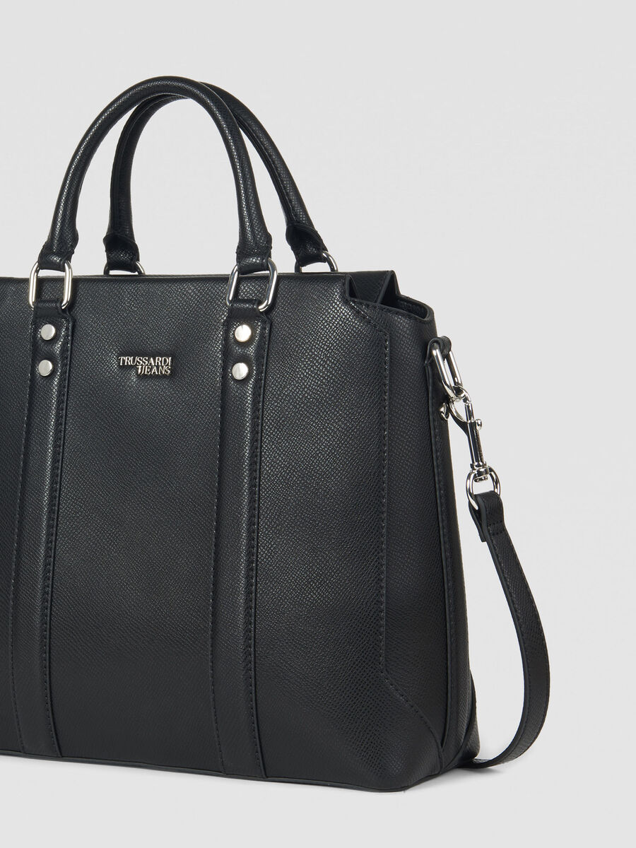 Large Berry tote bag in faux saffiano leather