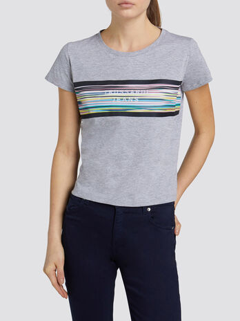 Jersey melange T shirt with striped sky print