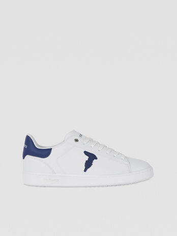 Sneaker in pelle con patch monogram