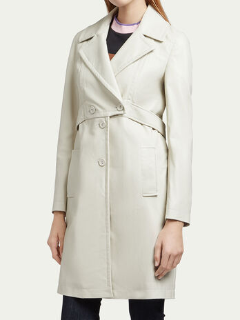 Grained leather trench coat