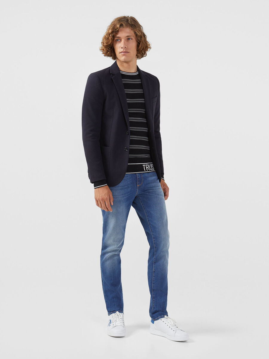 Regular fit striped wool blend pullover with logo