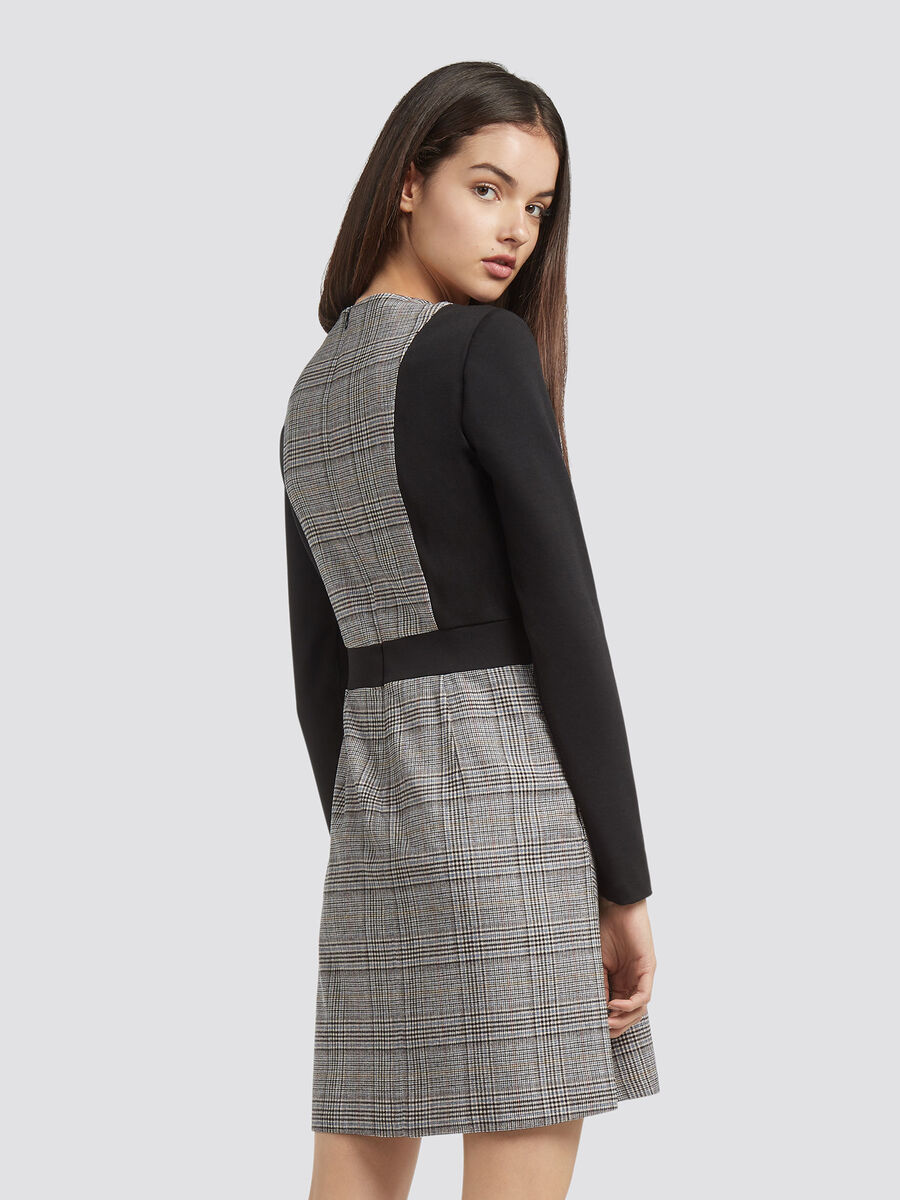Glen plaid dress in compact jersey