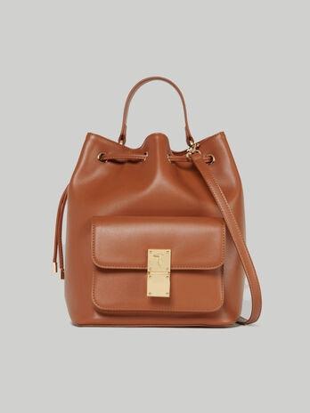 Medium Lione bucket bag in faux leather