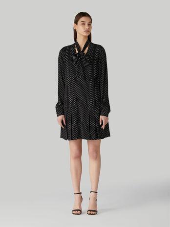 Short viscose dress with polka-dot print and pussy-bow