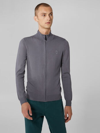 Slim fit viscose blend zip up cardigan