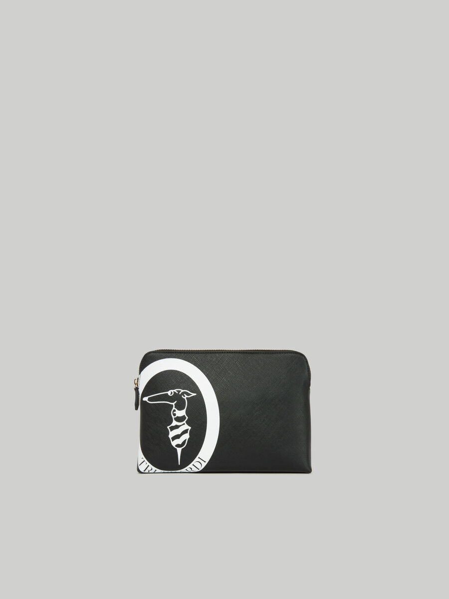 Medium Logo Pop toiletry bag in faux saffiano