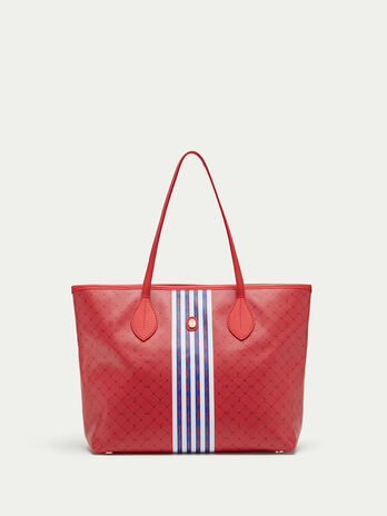 Medium striped Monogram crespo leather shopping bag