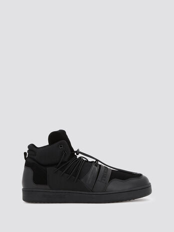 High top sneakers with trekking style lacing