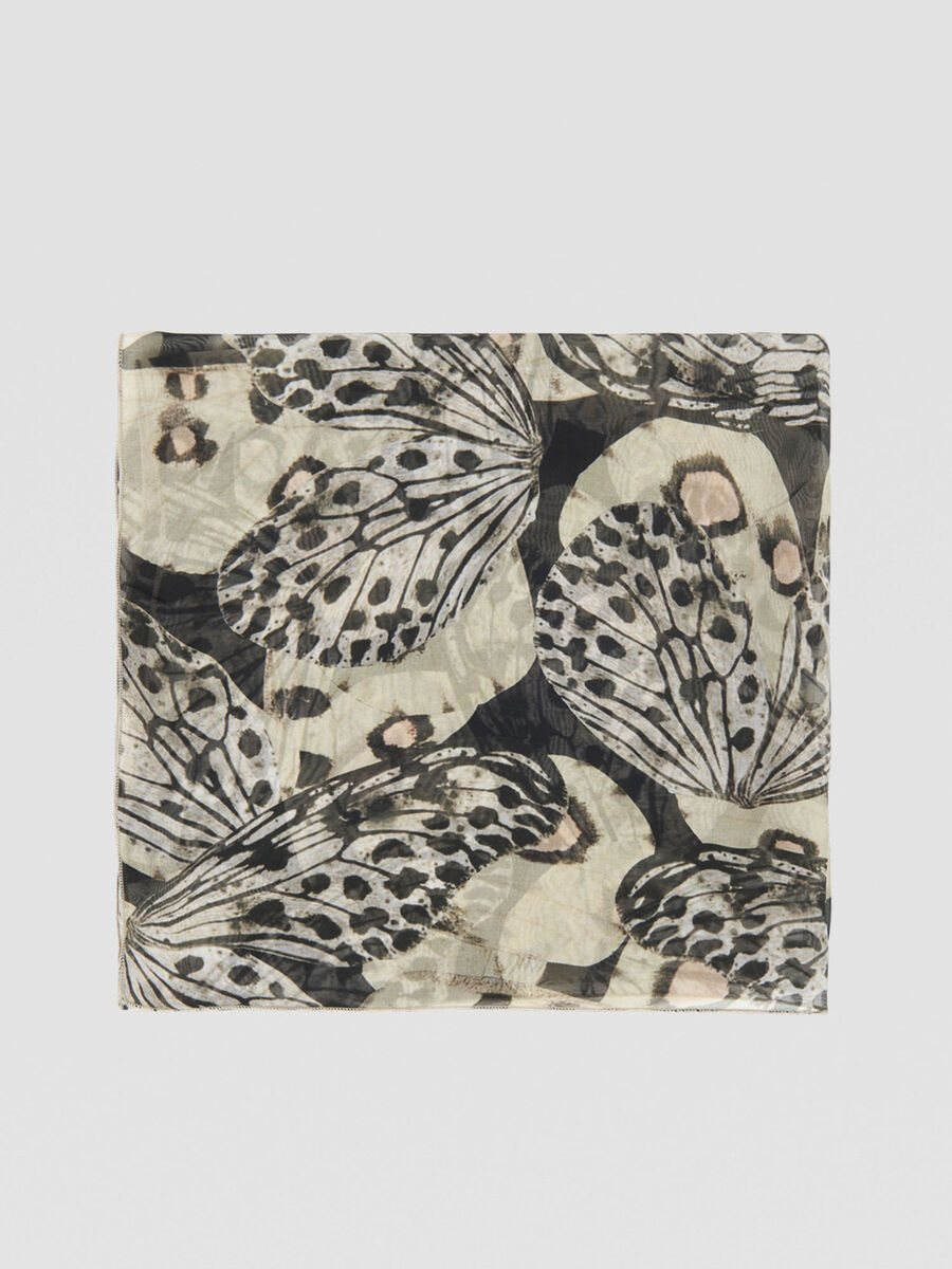 Butterfly-print scarf in silk and viscose