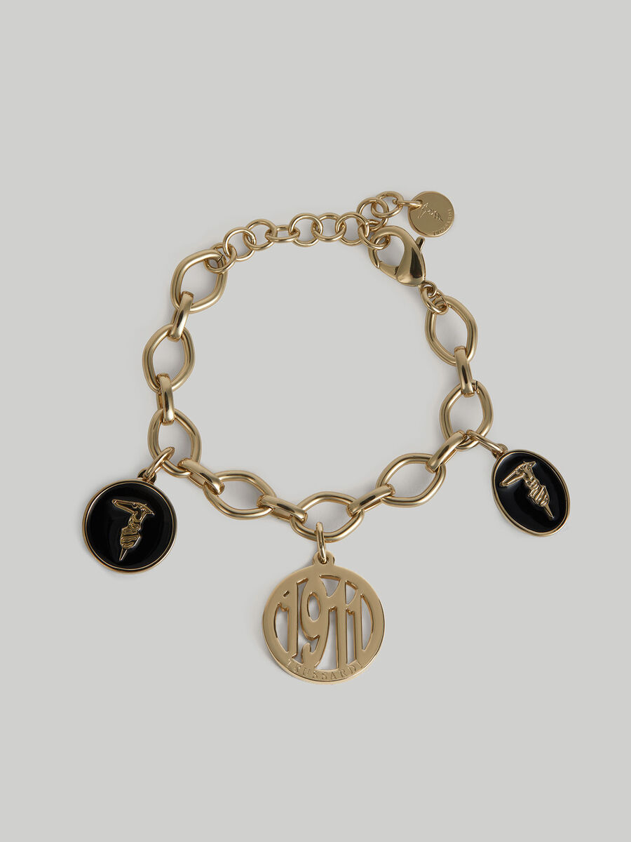 Metal chain bracelet with charm