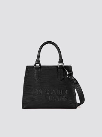 Small T-Tote bag in solid colour saffiano