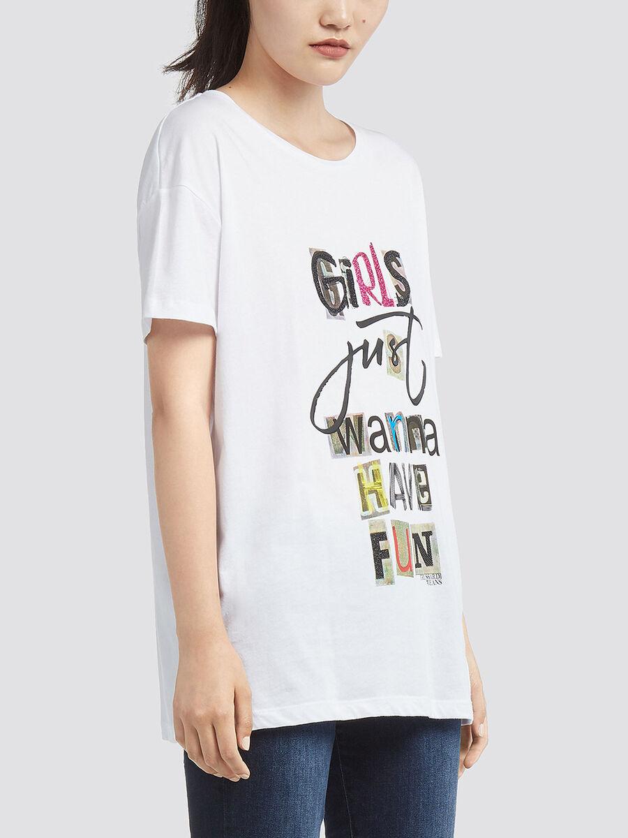 T-shirt en coton a imprime lettering