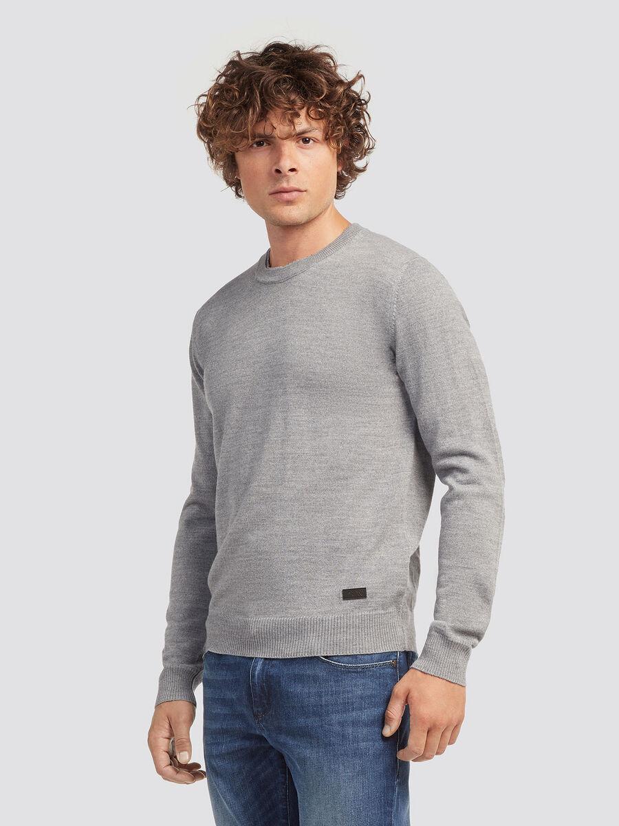 Pullover misto lana scollo rotondo tinta unita