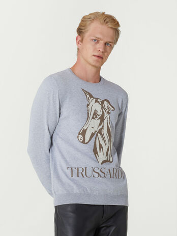 Cotton jacquard crew neck pullover