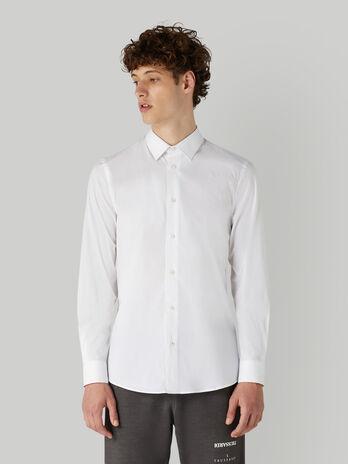 Camisa de corte slim de popelina de algodon