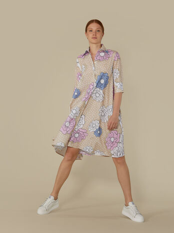 Technical cotton shirt dress