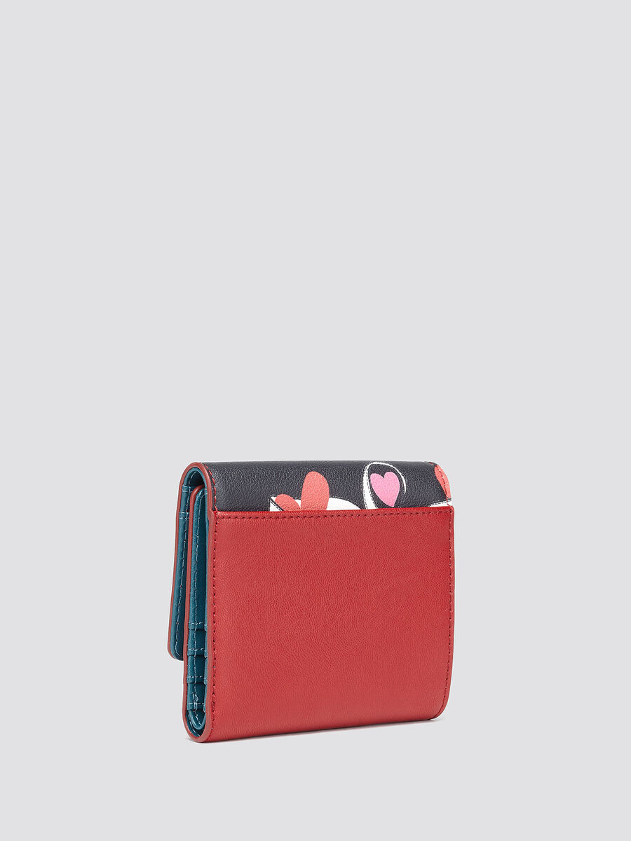 Card case with heart print flap