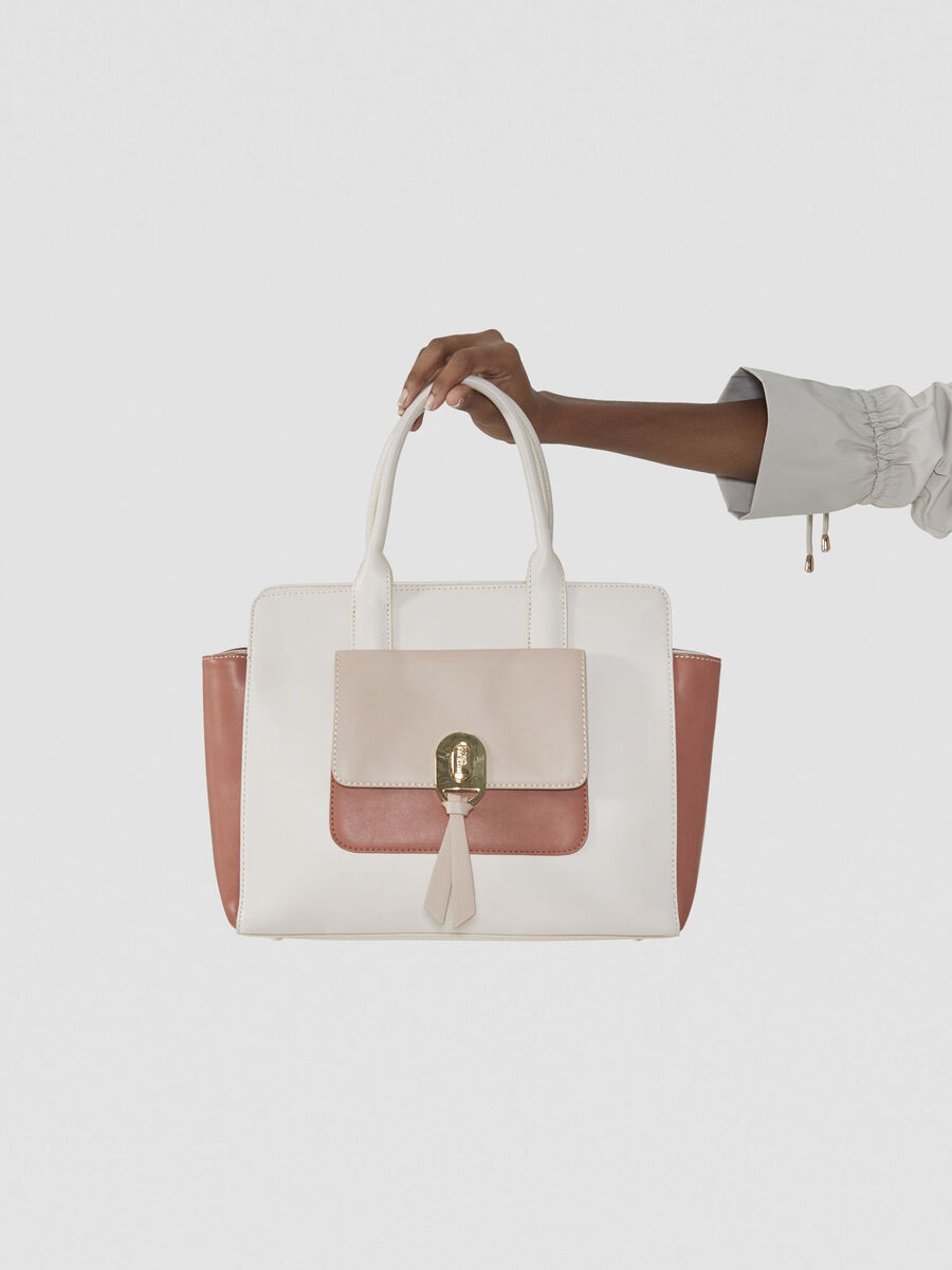 Large Mya shopping bag in tricolour faux leather