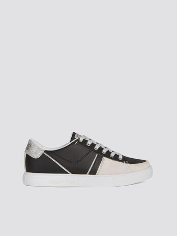 Faux leather sneakers with glittery details and laces