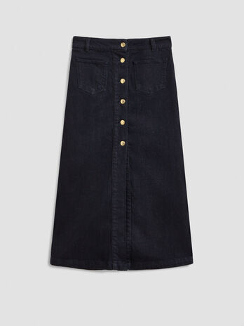 Long denim skirt with buttons