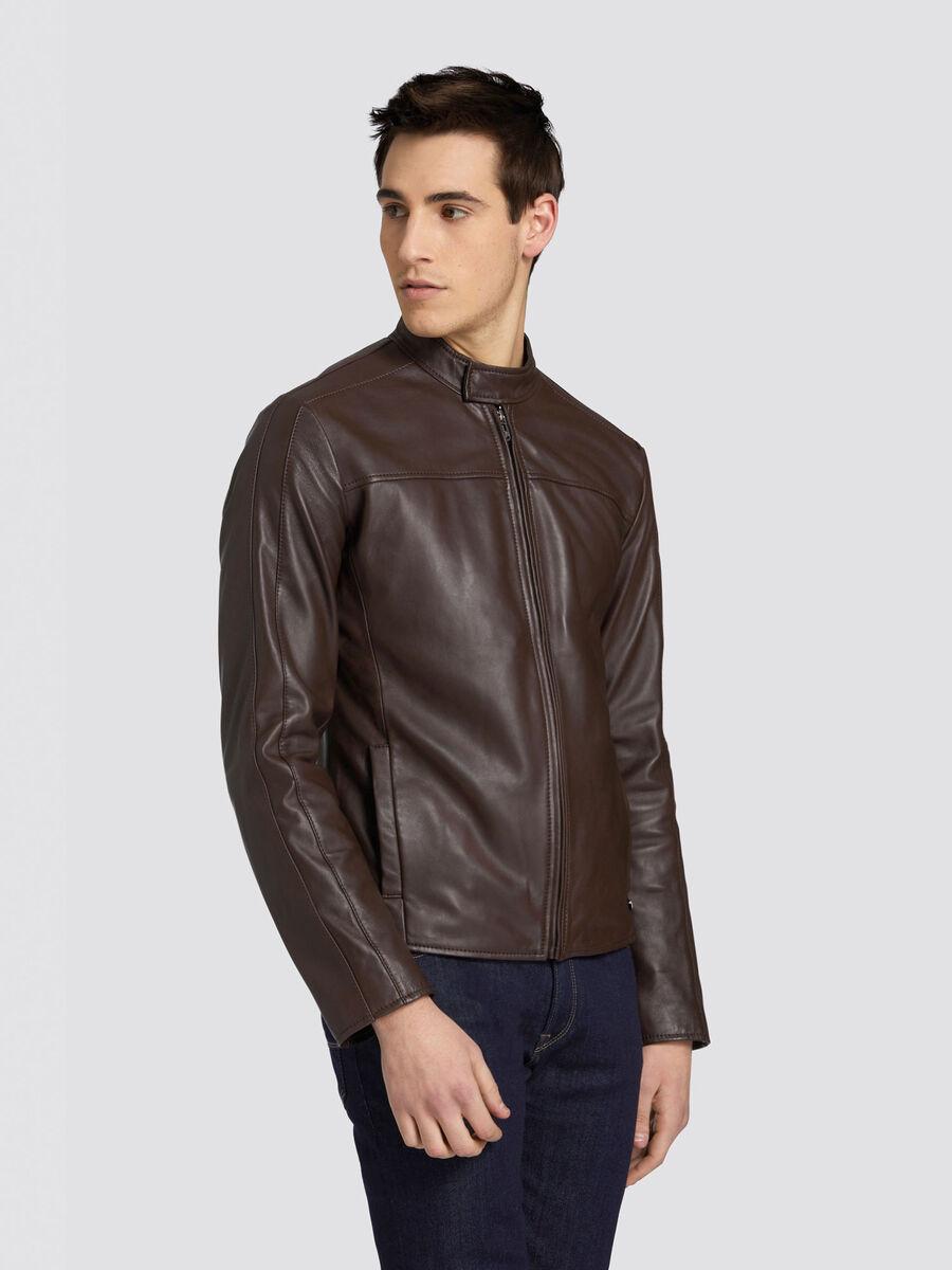 Regular fit biker jacket in soft leather