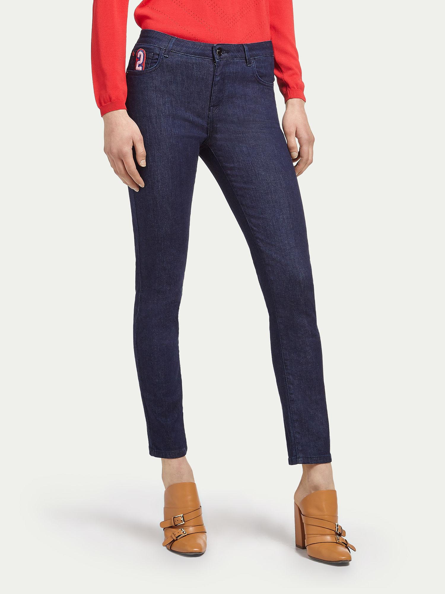 Pants for Women On Sale, Dark Blue, Cotton, 2017, 26 27 28 29 30 31 32 Trussardi