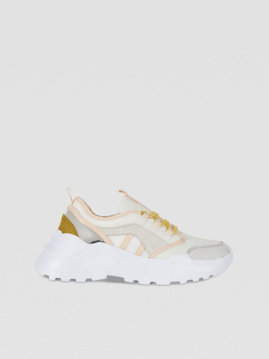 Running sneakers in multi-coloured suede mesh and PU