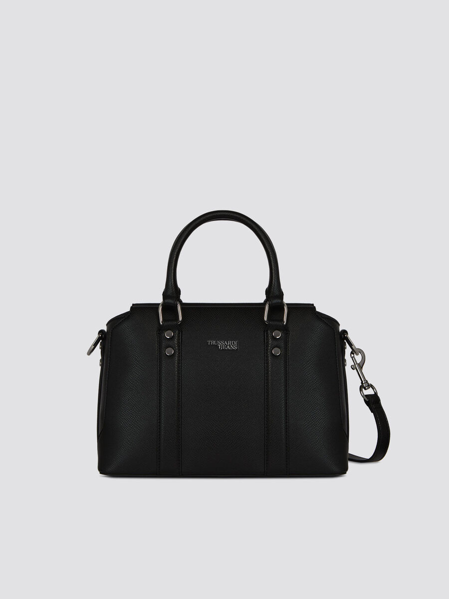 Medium Berry trunk bag in monochrome faux leather