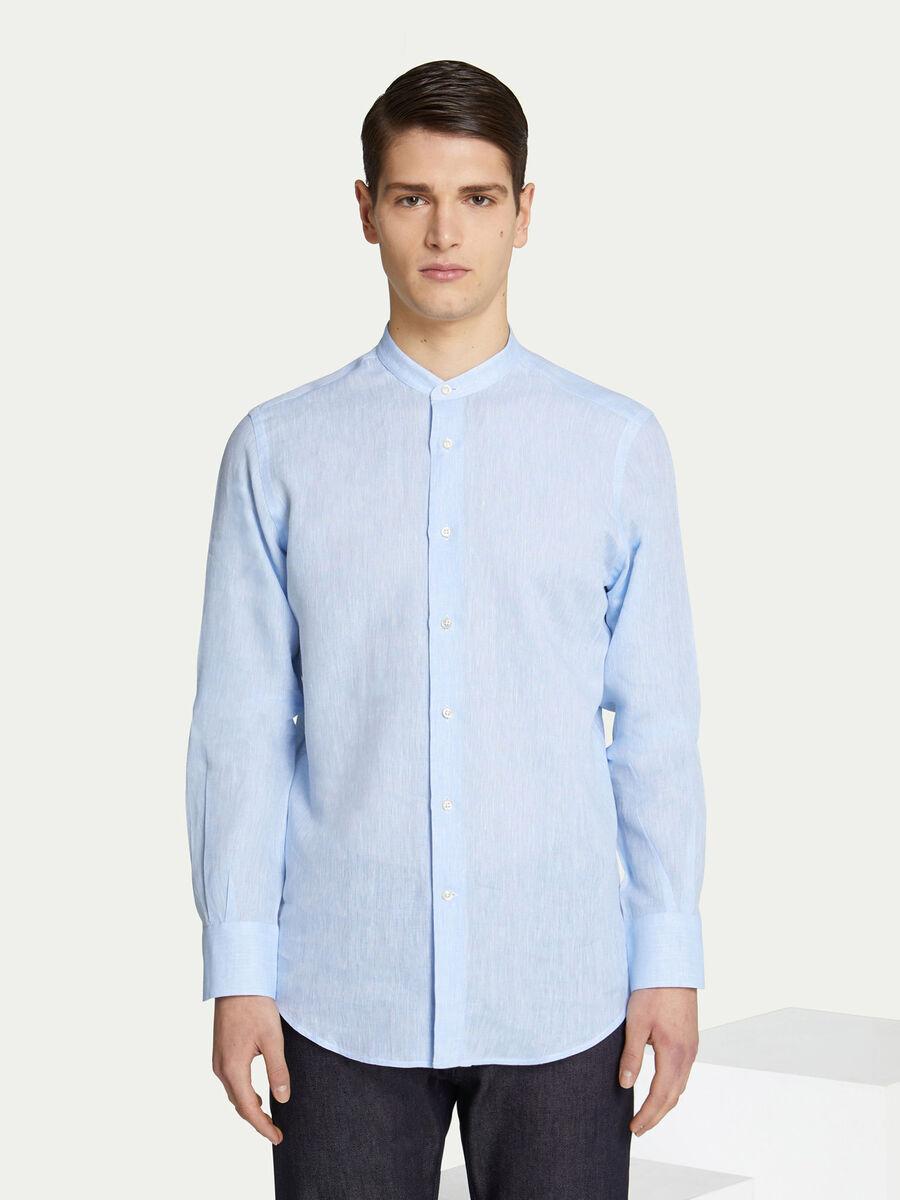 Solid colour Mao collar shirt