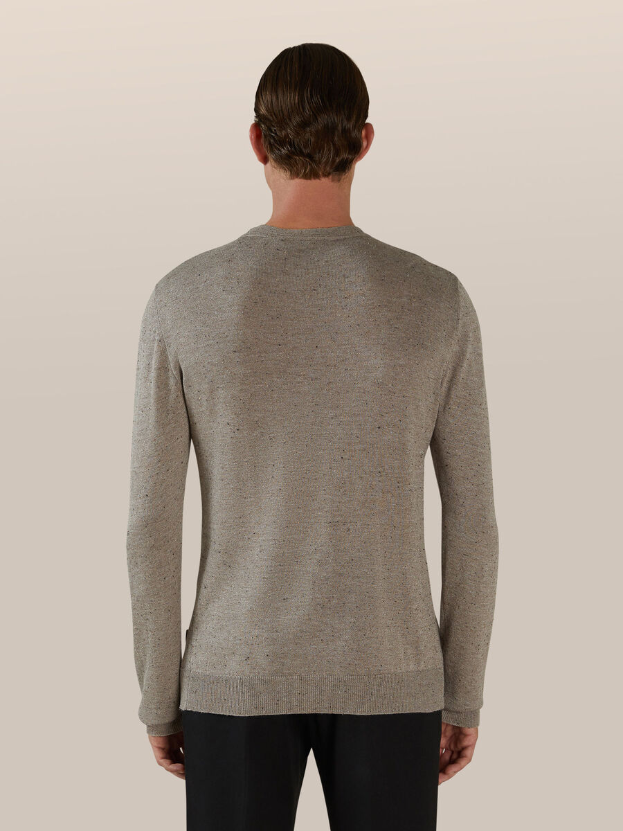 Pullover slim fit in misto cotone e seta