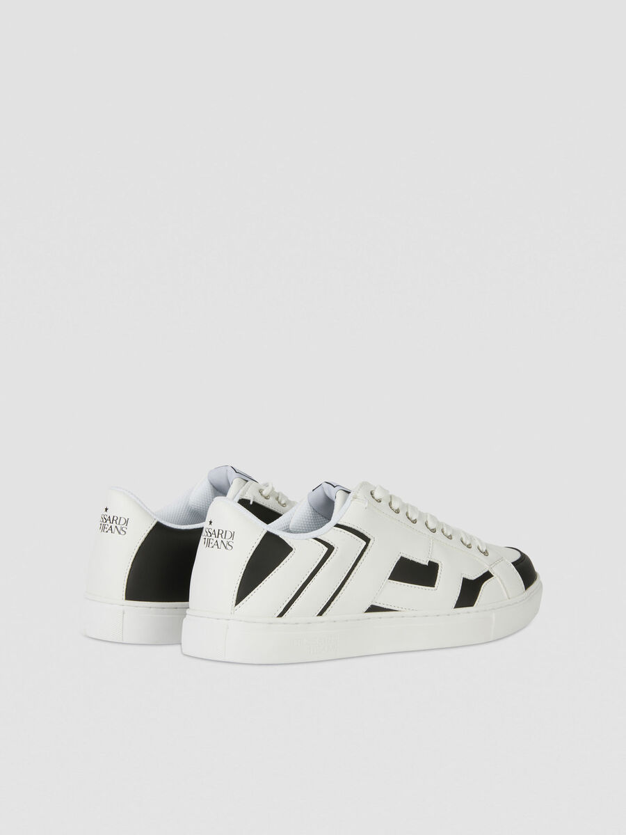 Two-tone faux leather sneakers