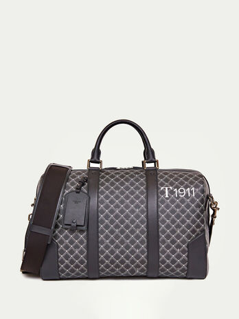 Crespo Leather Monogram Boston bag