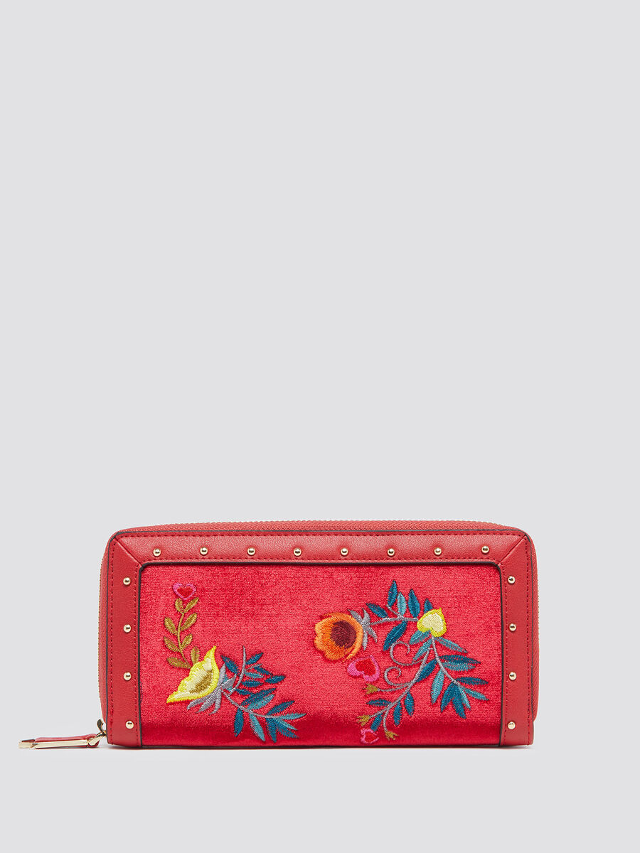 Velvet Portulaca purse with zip and embroidery