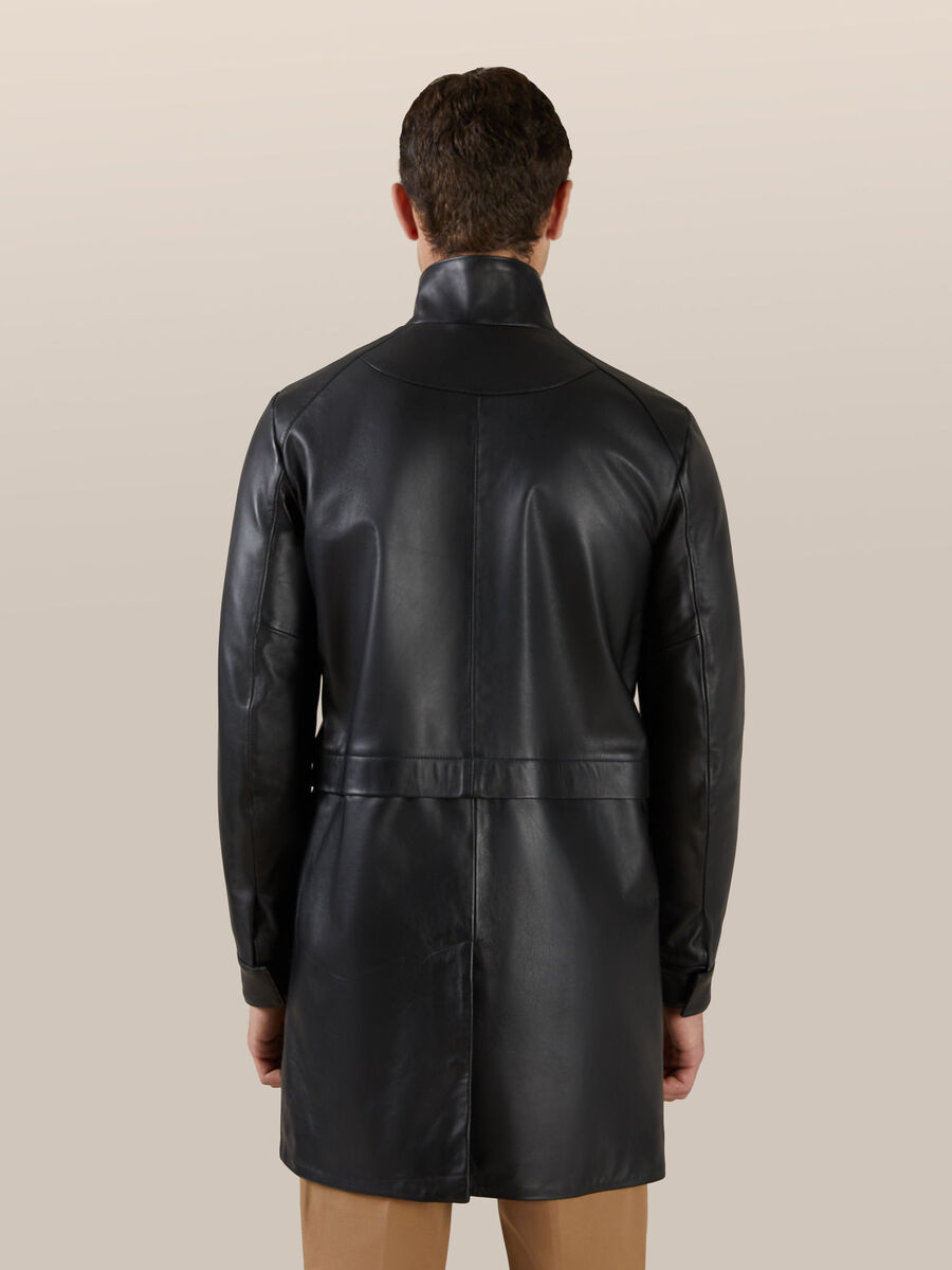 Regular fit matte leather coat