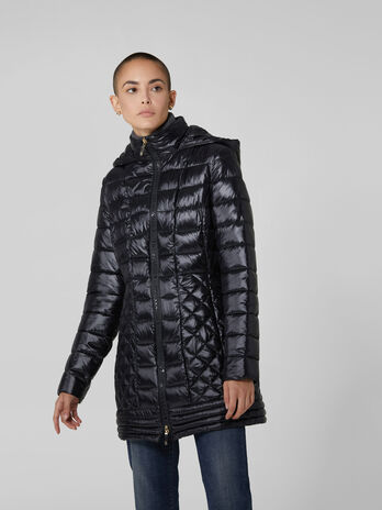 Light nylon midi down jacket