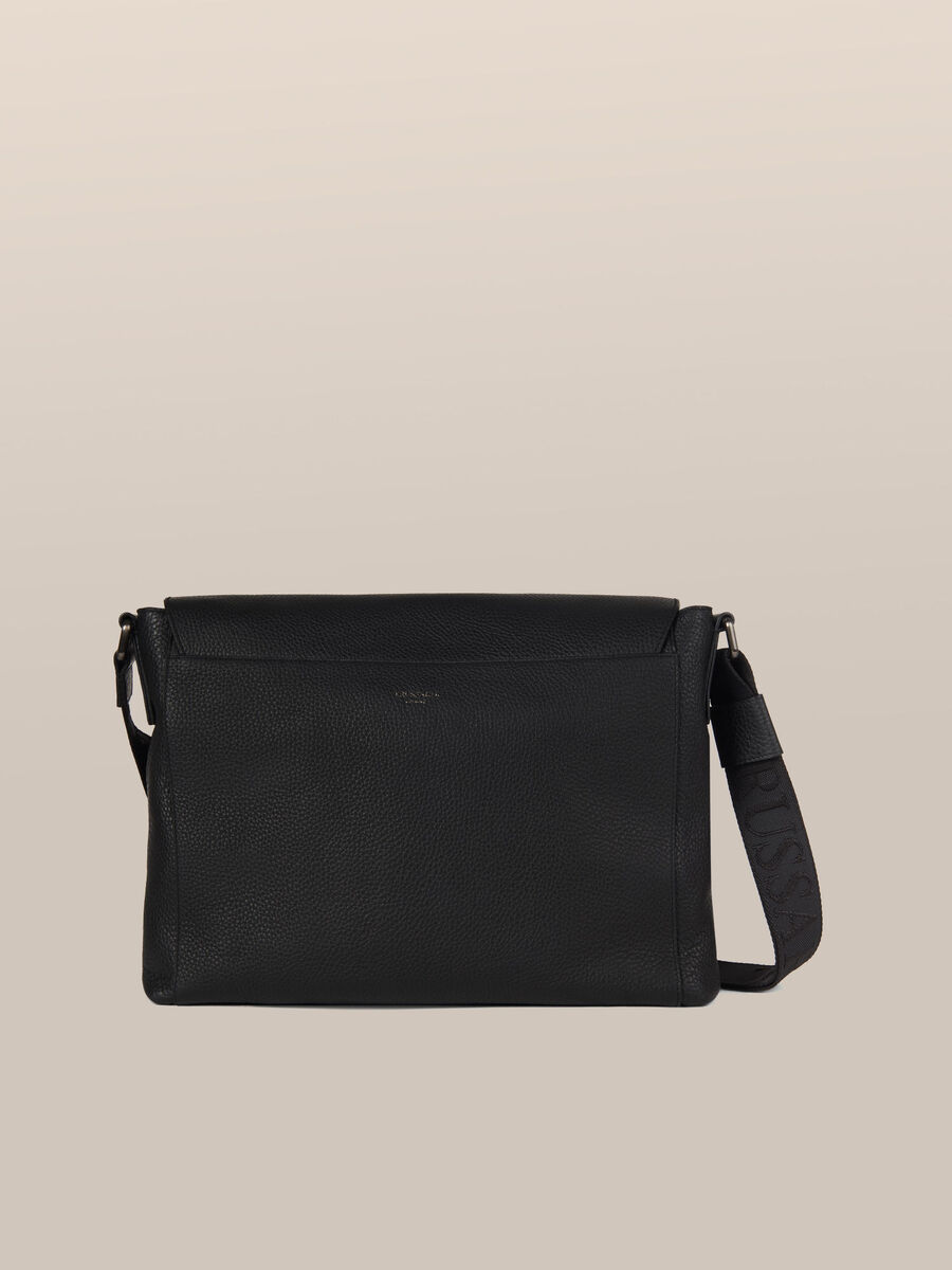 Leather Otto messenger bag with logo