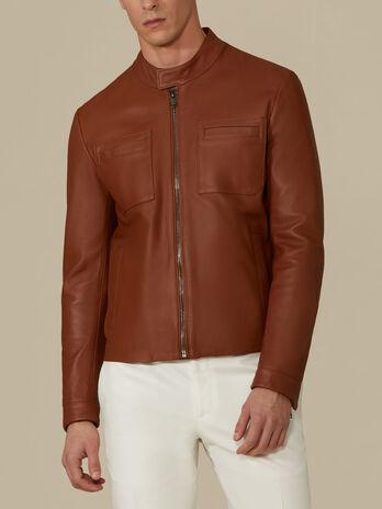 Regular-fit leather biker jacket