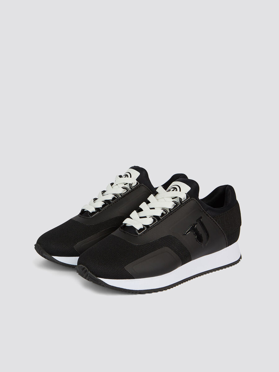 Nylon running shoes elastic on the contrasting heel